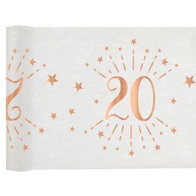 chemin de table joyeux anniversaire étincelant rose gold de 5 mètres âge au choix | jourdefete.com