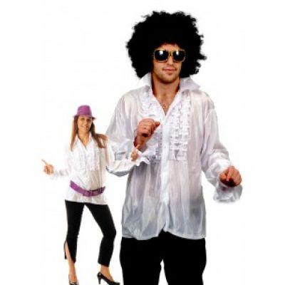 Chemise Star du Disco à froufrous - Blanc - Taille au choix