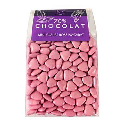 Dragées Mini Coeurs Chocolat 500 gr – Rose