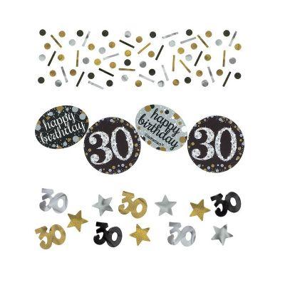 Trio de Confettis 30 Ans - Or / Argent