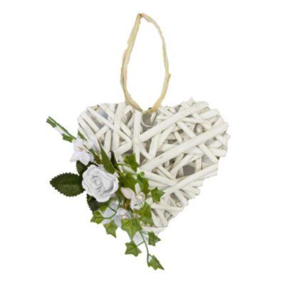 Suspension en Rotin en Forme de Coeur avec Feuillage et Rose | jourdefete.com