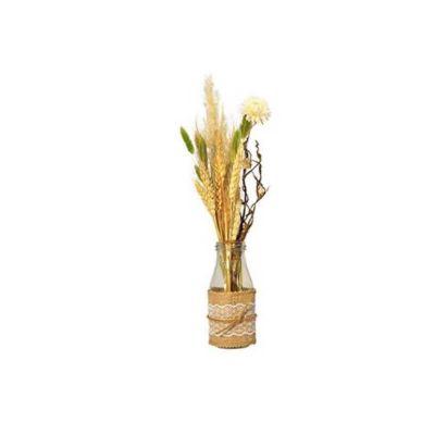 bouquet de fleurs sechees dans bouteille chanpetre | jourdefete.com