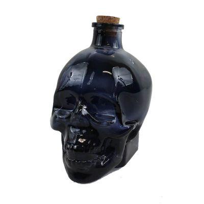 Flacon en Verre Tête de Mort - Noir