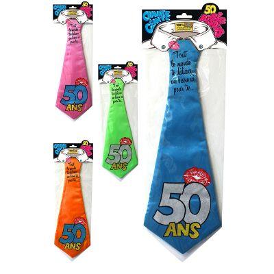 """Cravate géante à embrasser """"50 ans"""" - Différents coloris"""