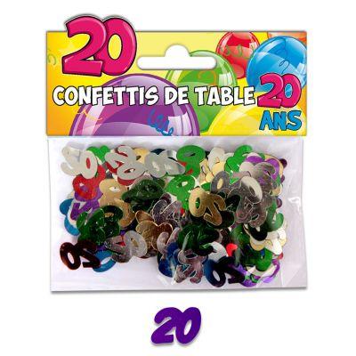 Confettis de table anniversaire 20 ans