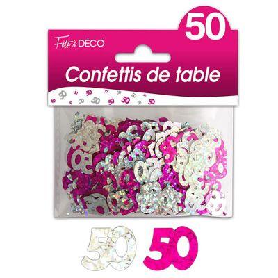 """Confettis pailletés d'anniversaire """"50 ans"""" - Rose et argenté"""