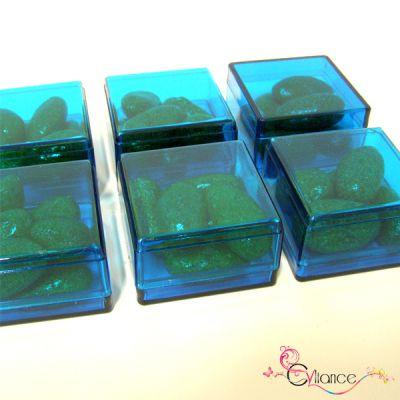 Sachet de Six Cubes en Plexiglas à Garnir de Dragées Turquoise