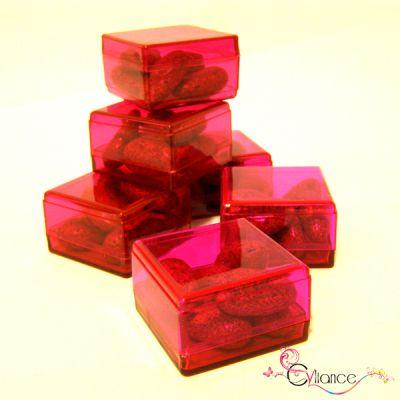 Sachet de Six Cubes en Plexiglas à Garnir de Dragées Fuschia
