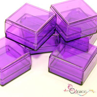 Sachet de Six Cubes en Plexiglas à Garnir de Dragées Violet