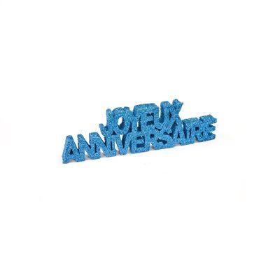 """Décoration de Table """"Joyeux Anniversaire"""" - Paillettes Turquoise"""