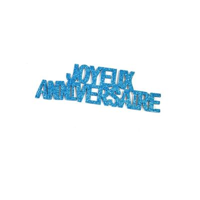 """6 Autocollants """"Joyeux Anniversaire"""" - Paillettes Turquoise"""