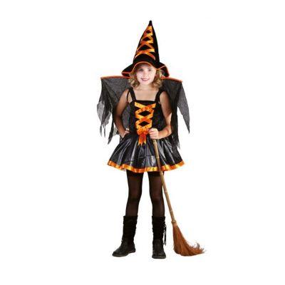 deguisement-sorciere-enfant-noir-orange jourdefete.com