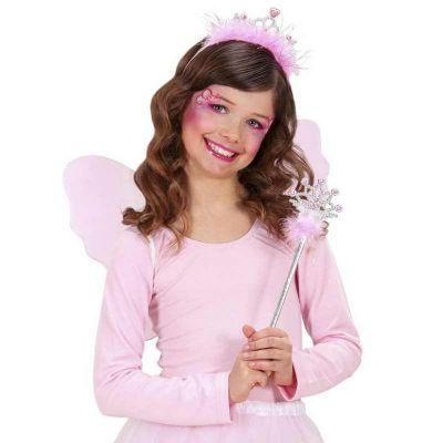 Diadème et baguette magique de princesse à plumes roses | jourdefete.com