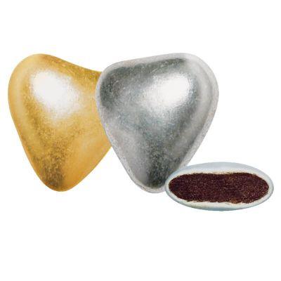 dragées mini coeur chocolat argentés | jourdefete.com