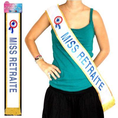 """Écharpe """"Miss Retraite"""" Bleu Pailleté"""