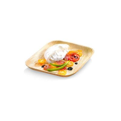 6 assiettes carrées en palmier de 24 cm | jourdefete.com