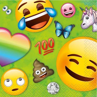 16 petites serviettes en papier Emoji™ Rainbow | jourdefete.com