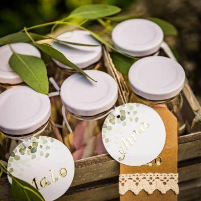 10 Étiquettes Rondes avec Ruban - Collection Eucalyptus | jourdefete.com