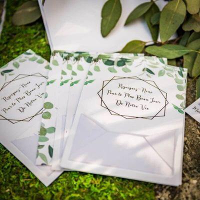 10 Invitations de Mariage avec leur Enveloppe et Coupon-Réponse - Collection Eucalyptus | jourdefete.com