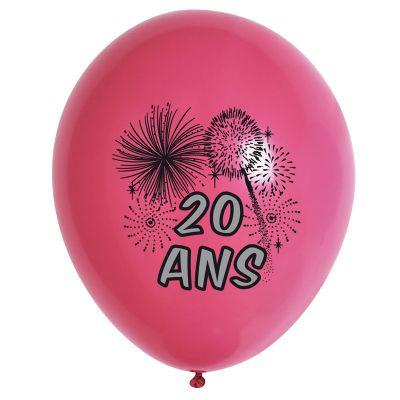 10 Ballons de Baudruche Multicolore Anniversaire 20 ans