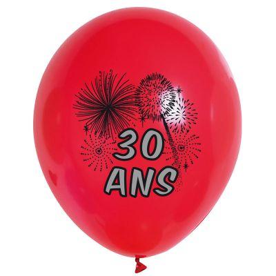 10 Ballons de Baudruche Multicolore Anniversaire 30 ans