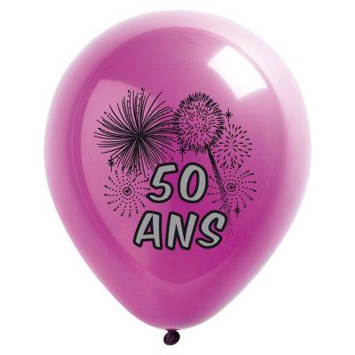 10 Ballons de Baudruche Multicolore Anniversaire 50 ans