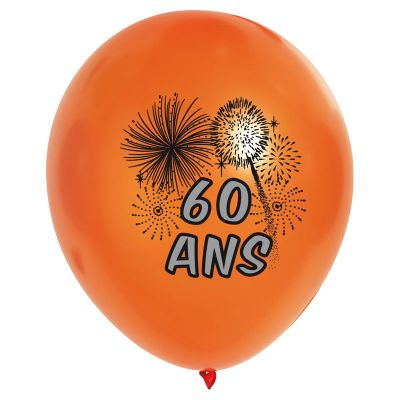10 Ballons de Baudruche Multicolore Anniversaire 60 ans