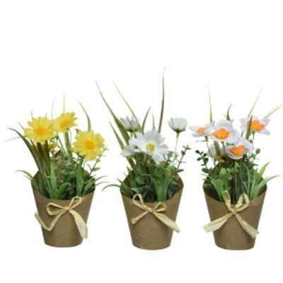 Fleurs dans un sac en Kraft avec Nœud en Raphia | Jourdefete.com