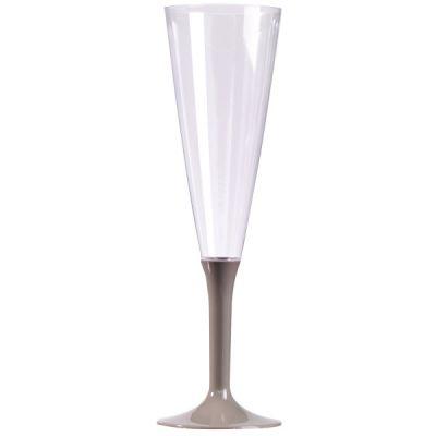 10 Flûtes à Champagne Plastique Pied Gris Argent