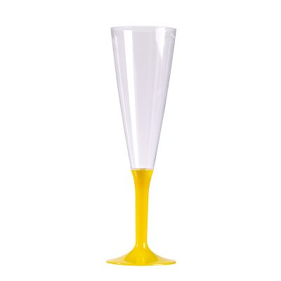 10 Flûtes à Champagne en Plastique - Pied Jaune