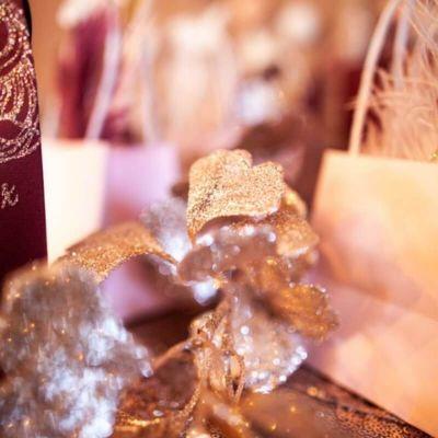 branche de ginkgo rose gold avec paillettes | jourdefete.com