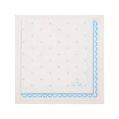 16 Serviettes à pois - Blanc et Bleu