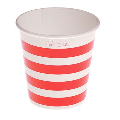 10 Gobelets en Carton 250ml - Rayures Rouges et Blanches