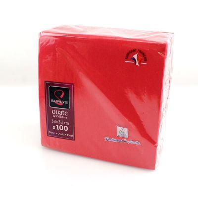 100 Serviettes Ouate de Cellulose Rouge
