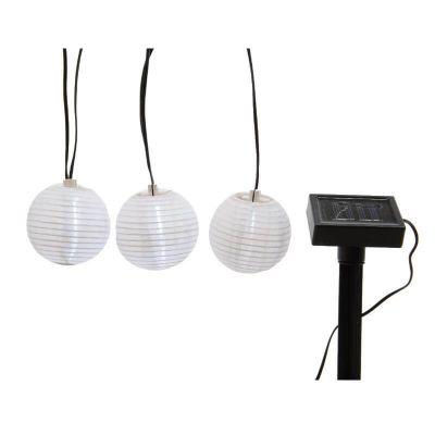 Guirlande LED solaire 10 lampions - Blanc | jourdefete.com