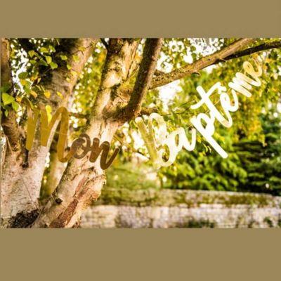 guirlande en carton couleur or mon bapteme ou communion | jourdefete.com