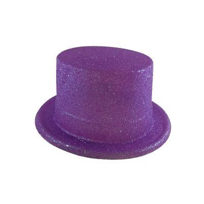 Haut de forme pailleté - Violet Fluo