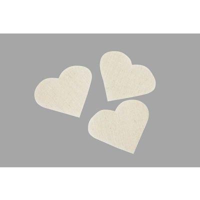 Cœurs décoratifs en lin ivoire