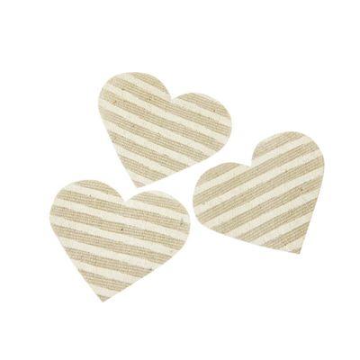 Cœurs décoratifs rayés en lin naturel