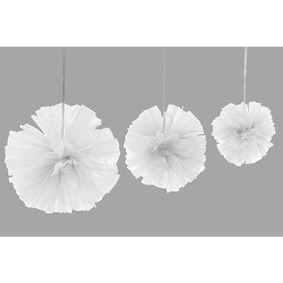 3 Boules Tulle à suspendre - Blanc