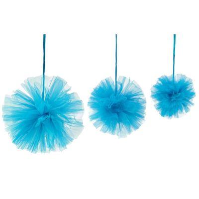 3 Boules Tulle à suspendre - Turquoise