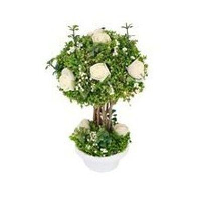 pot-fleur-romantique-rose-blanche-mariage jourdefete.com