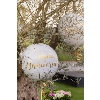 Ballon Anniversaire - Blanc et Or - Joyeux Anniversaire   jourdefete.com