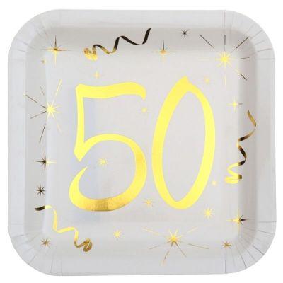 10 Assiettes en Carton Anniversaire - Blanc et Or - 50 ans | jourdefete.com