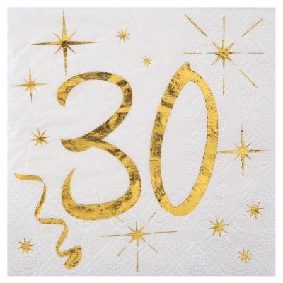 20 Serviettes en Papier Anniversaire - Blanc et Or - 30 ans | jourdefete.com