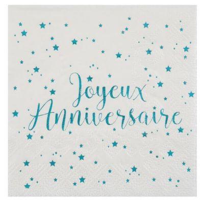 """20 Serviettes """"Joyeux Anniversaire"""" - Turquoise métallisé   jourdefete.com"""