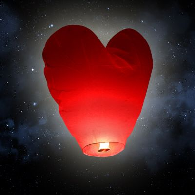 "Lanterne volante ""coeur"" - Rouge"