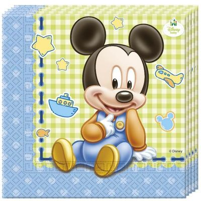 Lot de 20 Serviettes en Papier - Bébé Mickey Disney