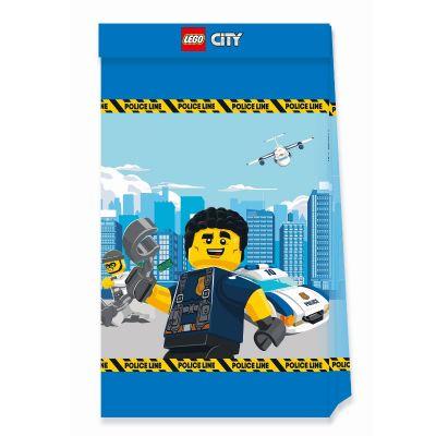 4 sacs cadeaux en papier fsc lego city | jourdefete.com