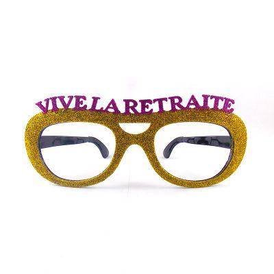 """Lunettes géantes pailletées """"Vive la retraite"""" - Différents coloris"""